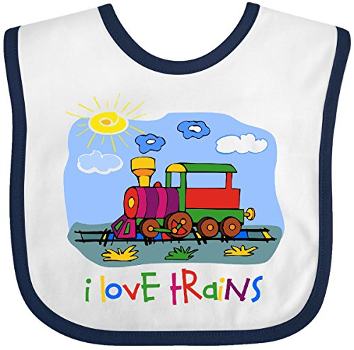 Inktastic - I Love Trains Baby Bib (Baby Train Conductor Outfit)