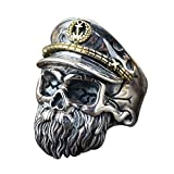 Unique Two Tone 925 Sterling Silver Bearded Skull Ring with Hat for Men Boys Adjustable 8.5-11