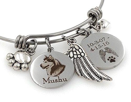 Siberian Husky, Alaskan Malamute Personalized Memorial Remembrance Bangle Bracelet or Necklace, Engraved - Rainbow Bridge