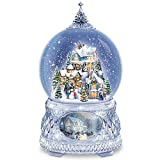 Thomas Kinkade Snowglobe With Crystal Base, Lights, Music: Home For The Holidays by The Bradford Exchange