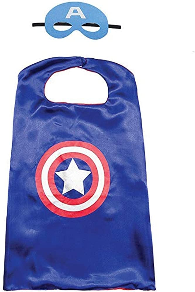 Halloween Mask and Cape  Captain America Dress Up Costume Accessories for Halloween Party Cosplay for Boys Girls  Captain America  Blue