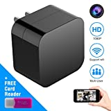 Hidden Spy Camera Wall Charger Nanny Camera USB Security Camera Supports 128GB SD Memory Card Superior Motion Detection, 1080P HD Resolution, 9712 Lens , WiFi Remote Viewing No Audio