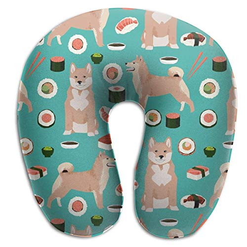 CHJOO Neck Pillow,Shiba Inu and Sushi Novelty Dogs Comfortable Travel Pillow, for Travel, Home, Neck Pain, and Many More with The Comfort Support Pillows