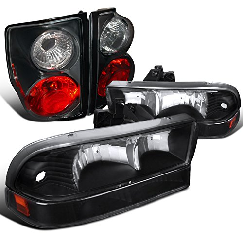 Chevy S10 Black Headlights+Bumper+Tail Brake Rear Stop (Chevy S10 Crystal Headlights)