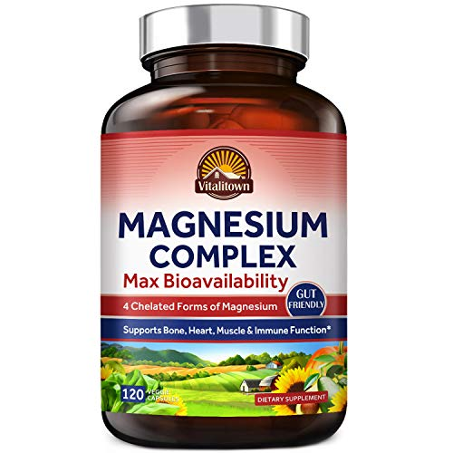 Vitalitown Magnesium Complex, Magnesium Glycinate, Malate, Taurate & Citrate, Chelated Forms, High Absorption, Bone, Heart, Muscle, Immune, Brain, Heart, Energy, Sleep & Digestion, Non-GMO