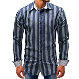 Men shirts Clearance WEUIE Men Striped Long-Sleeve Beefy Button Basic Solid Blouse Tee Shirt Top (XL, Blue)