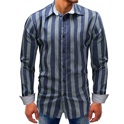 Men shirts Clearance WEUIE Men Striped Long-Sleeve Beefy Button Basic Solid Blouse Tee Shirt Top (XL, Blue) by WEUIE