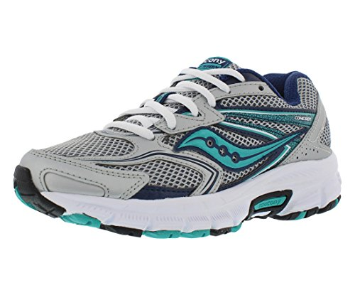 Saucony Women's Cohesion 9 Running Shoe, Silver/Navy/Teal, 8.5 M US (Type Womens Saucony)