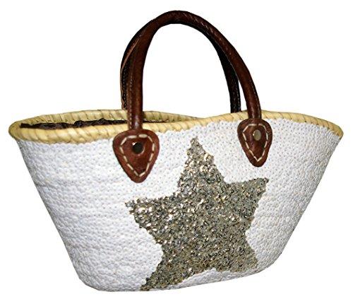 Capazo Bolso Pequeño Lentejuelas Palma Blanco Estrella Silver