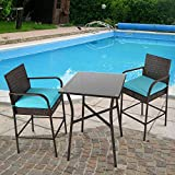 Kinbor 3 Pcs Outdoor Bar Stool Set Rattan Bar Height Bistro Set Patio Home Garden Indoor Furniture with 2 Brown Wicker Bar Chairs & 1 Table