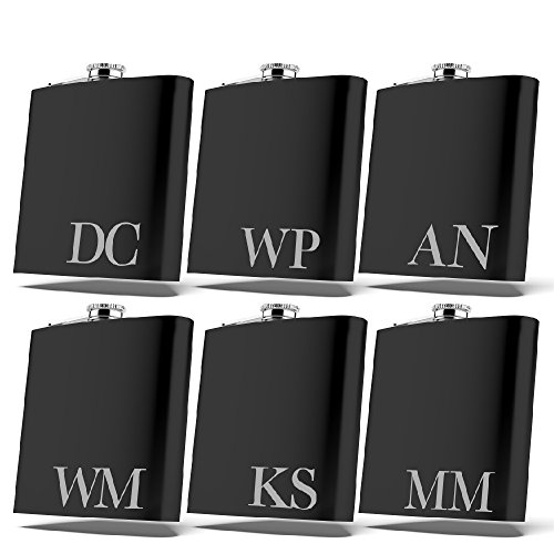 Set of 6 Set of 3 Single  Personalized Flask Groomsmen Gift Customized Groomsman Flasks Wedding Favors Matte Black Design 2 6
