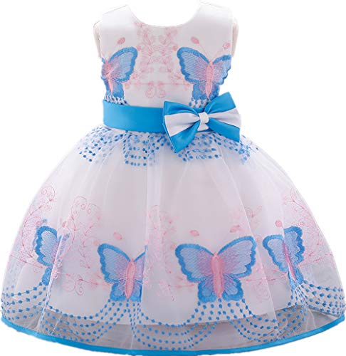 Jup'Elle, Baby Girl Dresses Ruffle Lace Pageant Party Wedding Flower Girl Dress 6-12 Months, Charlotte Blue ()