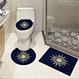 jwchijimwyc Psychedelic Widen Vintage Occult Sun with Face Boho Chic Esoteric Solar Spiritual Display 3 Piece Extended bath mat set Yellow Dark Blue