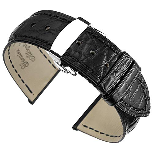 21mm Black High-end Alligator Leather Watch Straps/Bands Replacement for Luxury Watches
