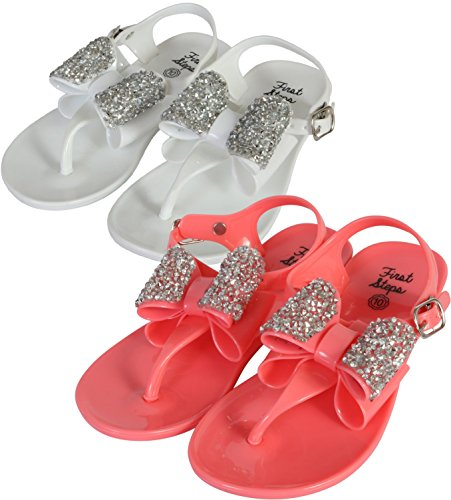 Jeweled Girls Sandals - first steps Girls 2 Pack Jelly Thong Sandals with Jewel Bow, White/Coral, 8 M US Toddler'