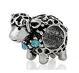 J&M Lamb/Sheep with Aquamarine Crystals Charm Bead for Bracelets