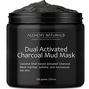 Alchemy 100% Natural Premium Spa Quality Dual Activated Age Defying Charcoal Mud Mask Facial Treatment Cleanser Minimizer for, Acne, Blackheads, Scars, Cellulite – 8.8oz