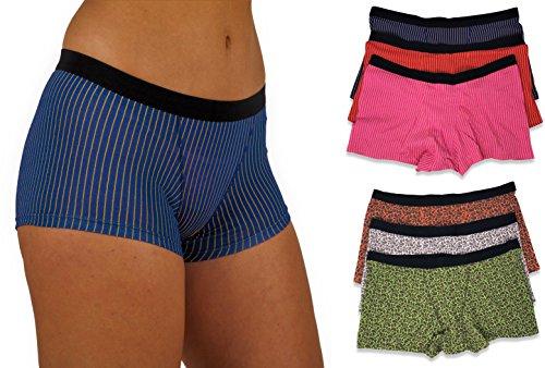 (Sexy Basics Women's 6 & 12 Pack Modern Active Boy Short Boxer Brief Panties (6 Pack- Foil Stripes & Flora, XX-Large))