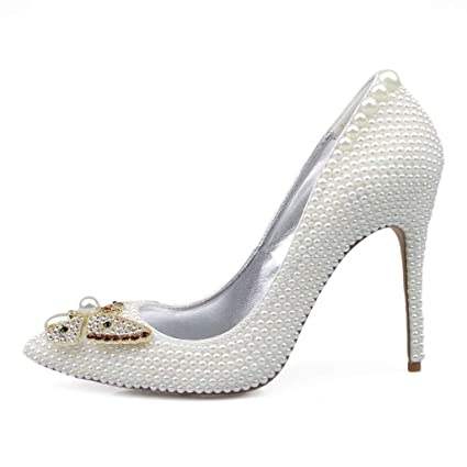 fa6830cd71b52 Amazon.com: DCYU White Pearl High Heel Butterfly Pointed Stiletto ...