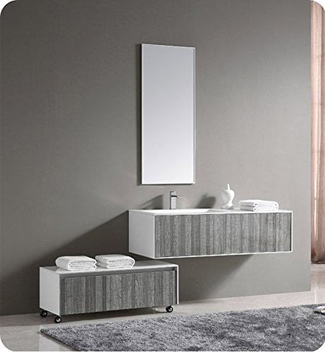 52 Inch Vanity (Fresca 52 inch Wall Mount High Gloss Modern Bathroom Vanity with Mirror and Faucet Ash Gray)