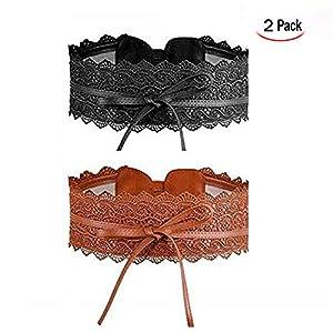 LHKJ 2 coppie Cintura di Finta Pelle Pizzo,Elastico Pizzo Cintura fusciacca(nero e marrone)