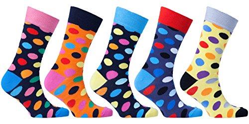 Dot Socks - Socks n Socks-Men's 5-pair Luxury Cotton Polka Dotted Dots Dress Socks Gift Box