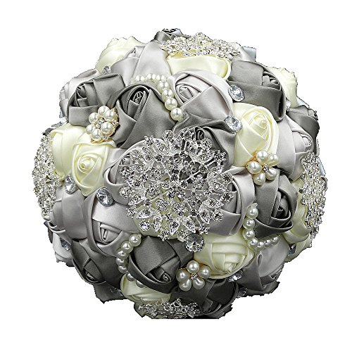 Wedding Flowers Bridal Bouquets Elegant Pearl Bride Bridesmaid Wedding Bouquet Crystal Sparkle (Diameter 8.66 inches Gray) -