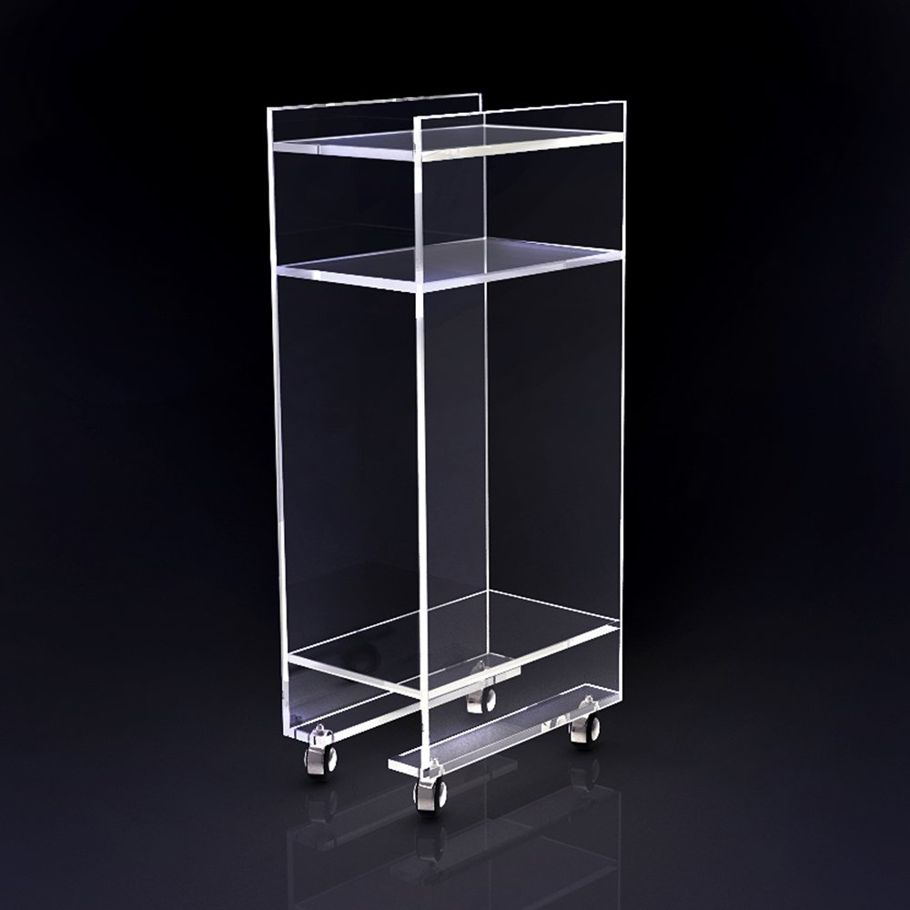 Acrylic lucite rolling magazine/telephone table on wheels