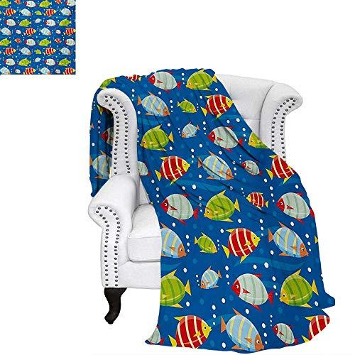 Pellets Colored Fish (Nursery Summer Quilt Comforter Vibrant Colored Fish on a Navy Blue Background Marine Life Digital Art Digital Printing Blanket 60
