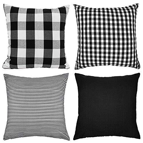 NIUIEME Set of 4 Cotton Plaid Throw Pillow Covers,Square Decorative Cushion Case for Sofa,18 X 18 Inch,Black Series:Plaid,Pure Black,Stripe and Smaller Plaid ()