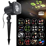 ANTSIR Rotating Landscape Projection LED Light, 16PCS Switchable Lens Snowflake Spotlight Projector for Valentine's Day, Holiday,Birthday, Wedding, Party, Kids Room,New Year