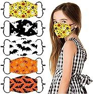 5 Pcs Kids Face_Masks Washable Face Covers Adjustable Print Breathable Face Bandanas Reusable Face_Masks for C