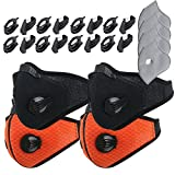 Dustproof Masks - Activated Carbon Dust Mask with Extra Filter Cotton Sheet and Valves for Exhaust Gas, Pollen Allergy, PM2.5, Running, Cycling, Outdoor Activities (4 Set Black+Orange, Dust Masks)