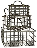 Set of Honey & Me Metal Rectangular Hanging Baskets in 3 Sizes