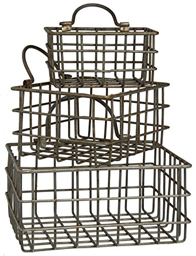 Set of Honey & Me Metal Rectangular Hanging Baskets in 3 Sizes