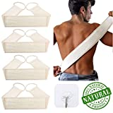 4 Pack Exfoliating Loofah Back Scrubber for Shower, Exfoliating Bath Belt, ZUEXT Natural Luffa Bath Sponge, Long Shower Body Sponge Scratcher, Loofah Body Scrubber for Men and Women (32 x 3.1 Inch)