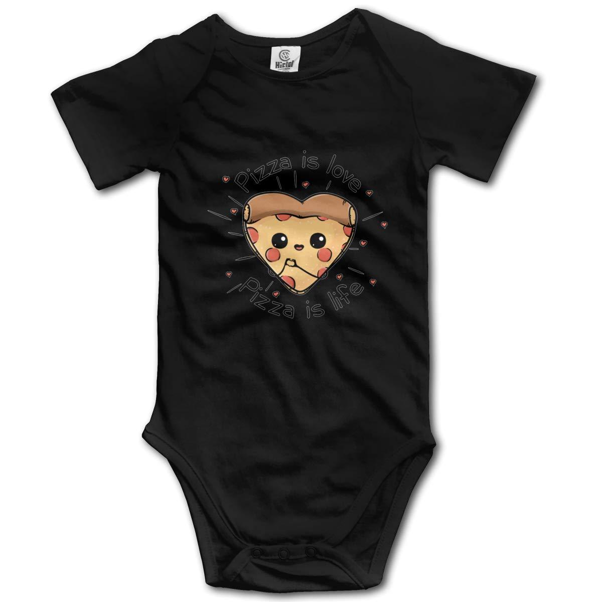 FOECBIR Pizza is Love.PNG Infant Boys Girls Jumpsuit Short-Sleeve Romper Bodysuits