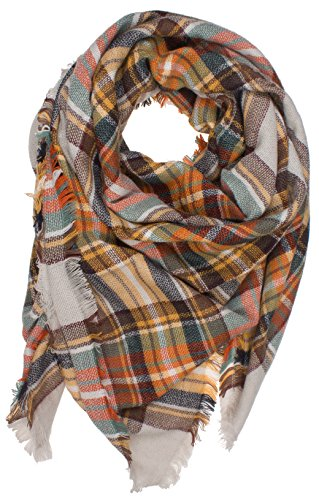 DRY77 Large Oversized Square Blanket Plaid Tartan Pattern Scarf Wrap, Grey, 55