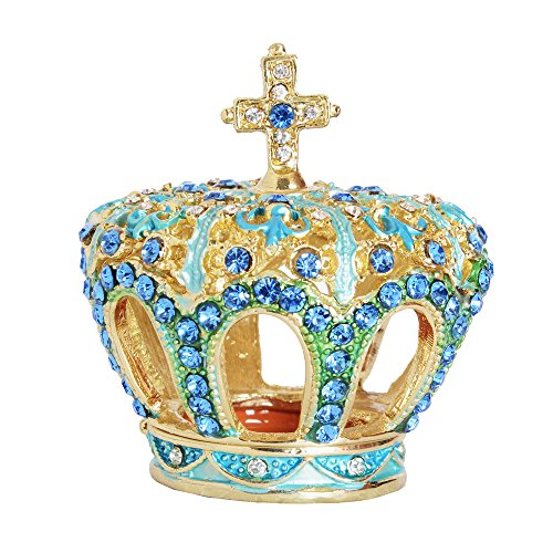 Crystal Jeweled Crown Trinket Jewerly Treasured Box Pewter Collectible Birthday Gifts for Her