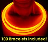 "Glow With Us Glow Sticks Bulk Wholesale Necklaces, 100 22"" Orange Glow Stick Necklaces +100 FREE Assorted Glow Bracelets! Bright Color, Glow 8-12 Hrs, Connector Pre-attached, Sturdy Packaging, Brand"