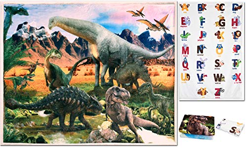Dinosaur Alphabet Printed Blanket - Lightweight Soft Sherpa Mother Warmth Blanket for Boys and Girls Learn and Fun Kids Carpet Playmate Rug Cozy Fleece Flannel Throw for Baby 250g/sm