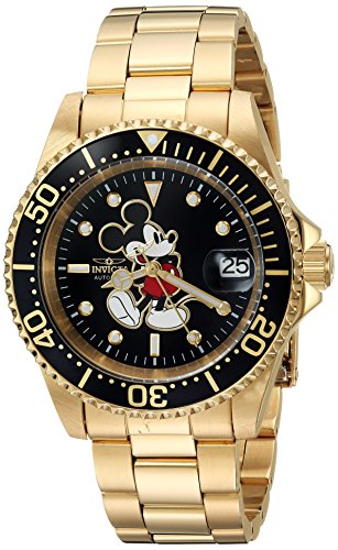 - Invicta Men's Disney Limited Edition Automatic-self-Wind Watch with Stainless-Steel Strap, Gold, 20 (Model: 25107)