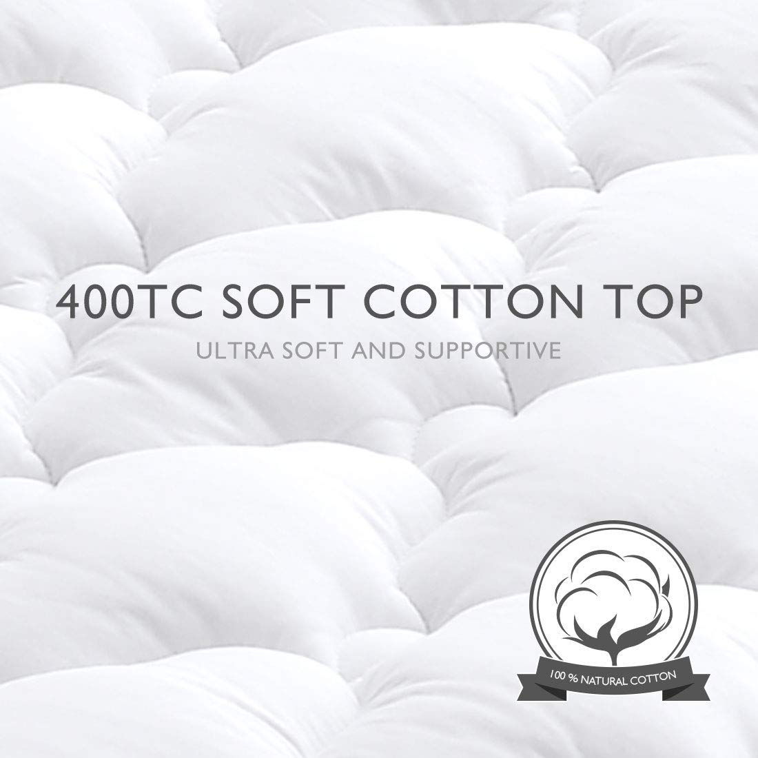 TEXARTIST Mattress Pad Cover Twin Size Cooling Mattress Topper 400 TC Cotton Pillow Top with 8-21 Inch Deep Pocket