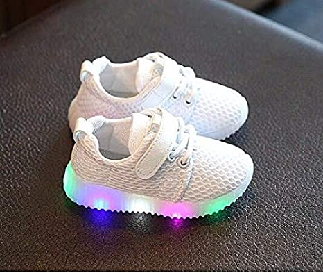 Amazon.com: FidgetKute Zapatos de Bebe Niña Niño Zapatillas de Malla con Luz LED Intermitente Blanco 5.5: Clothing