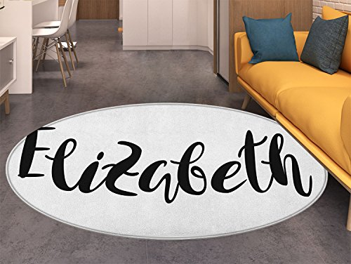 Elizabeth Round Rugs for Bedroom Monochrome Inscription Style Modern Calligraphy Design Popular Girl Name Circle Rugs for Living Room Black and White