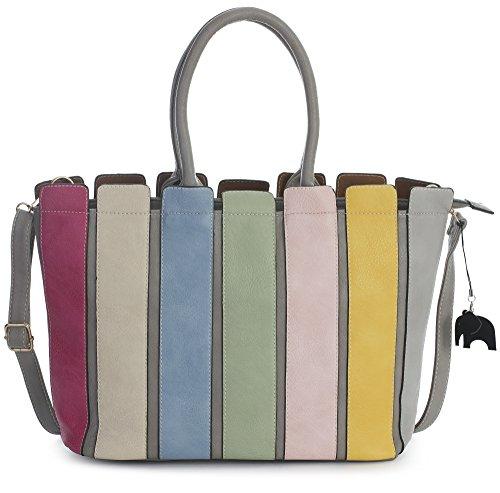 Mabel Womens Shoulder Handbag in Multi Coloued Stripes/Long Shoulder Strap with Charm and Dust Bag Light Grey (2018)