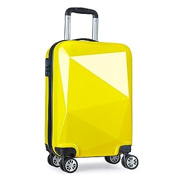 PARTYPRINCE Equipaje de cabina 4 ruedas ABS+PC ligera diamante maleta viaje cabina 20097 amarillo: Amazon.es: Equipaje