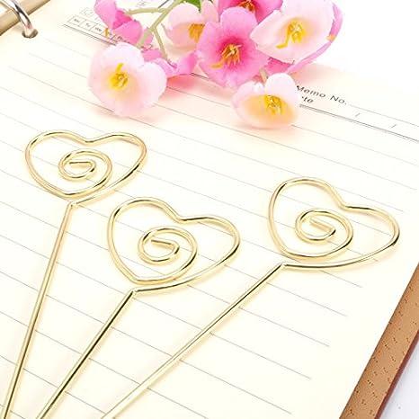 Janou Heart Ring Loop Diy Craft Card Note Clip Photo Memo Holder Cake Topper Decoration Gold Pack 20pcs