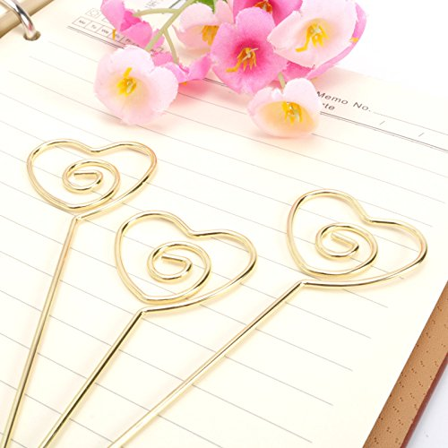 JANOU Heart Ring Loop DIY Craft Card Note Clip Photo Memo Holder Cake Topper Decoration (Gold) Pack 20pcs ()