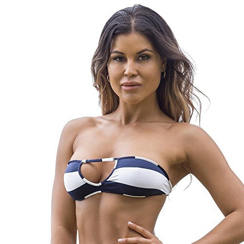 Wicked Weasel Sailor Stripe Bandeau Bikini Top 351  Medium  Navy